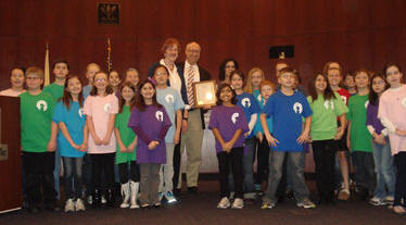 "Clow TattleTales help to announce the 2012 Naperville Reads Program. The theme is ""I've Got a Story! What's Yours?"""